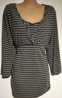 BLOOMING MARVELLOUS MATERNITY GREY STRIPE 3/4 SLEEVE TUNIC TOP SIZE XL 16-18